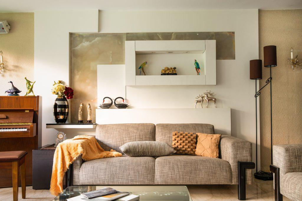 sofa and wall modern interior